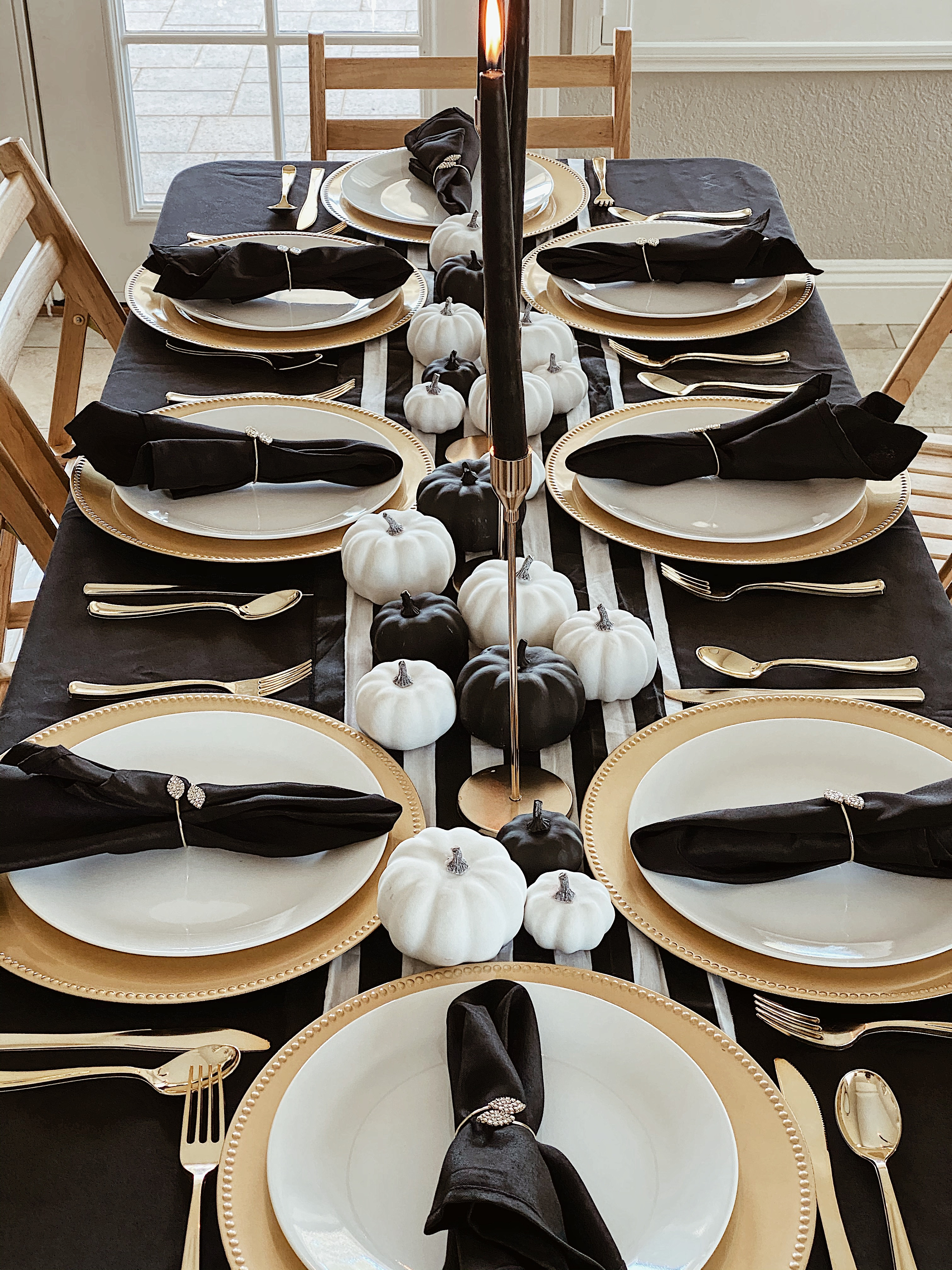 Home Decor-Holidays-Glam Black white and gold thanksgiving fall tablescape