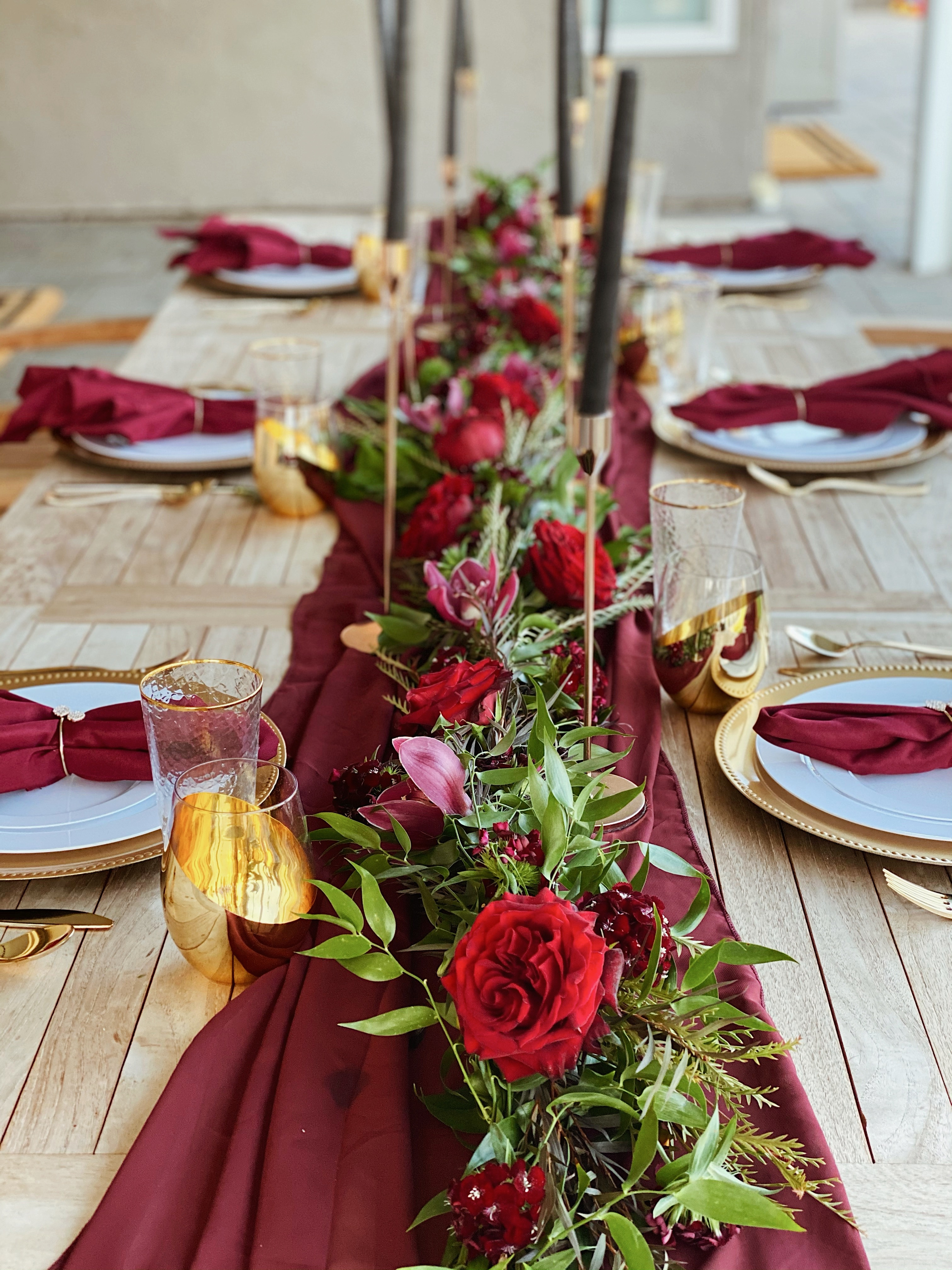 HD-Events Burgundy and gold boho thanksgiving, christmas, wedding tablescape, rehearsal dinner table decor, spring, easter tablescape, brunch, bridal shower, baby shower, baby blessing, baby baptismmoody, romatic decor 8