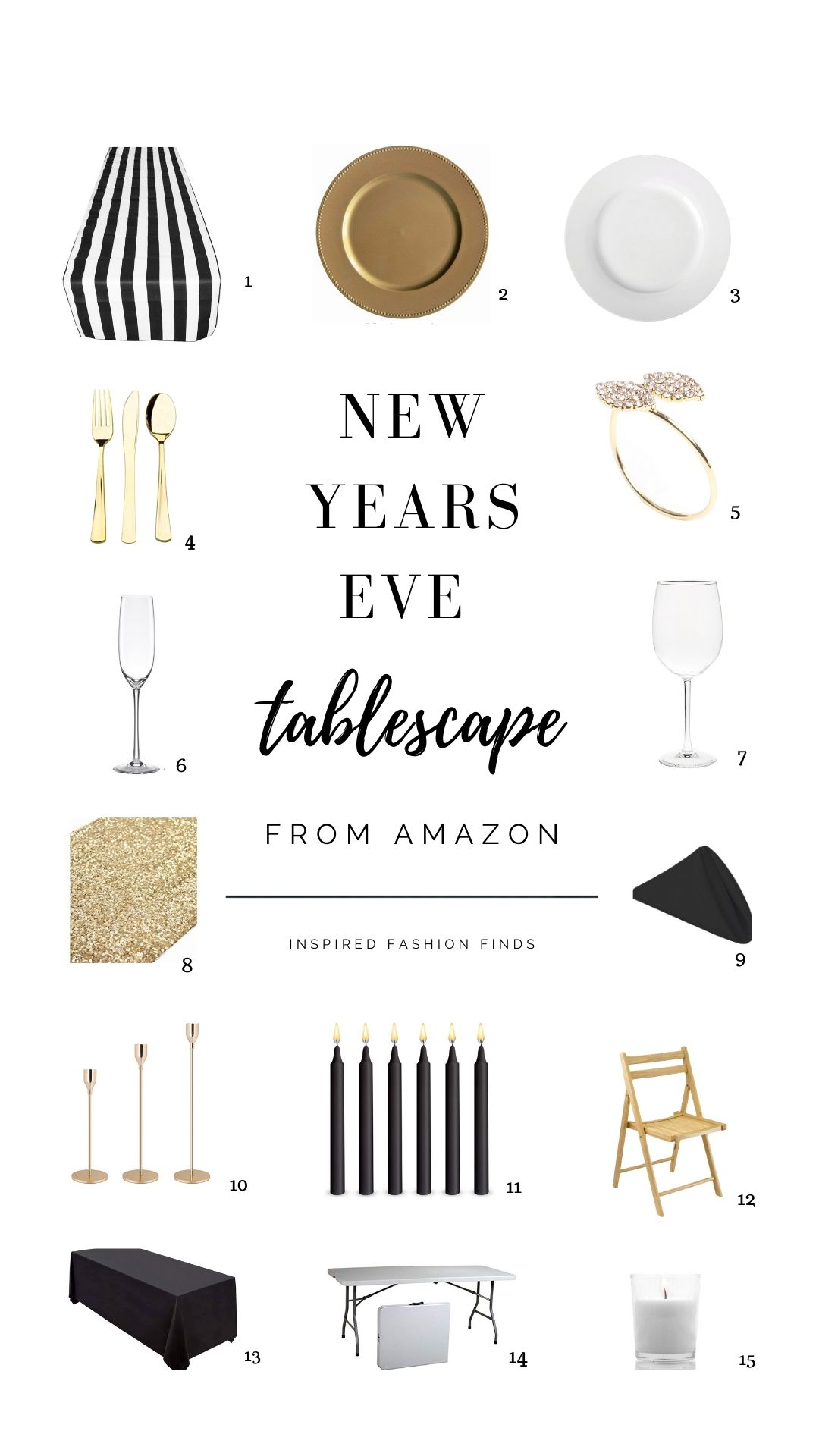 Pinterest Pin-NYE new years eve tablesape table decor black white and  gold sequins