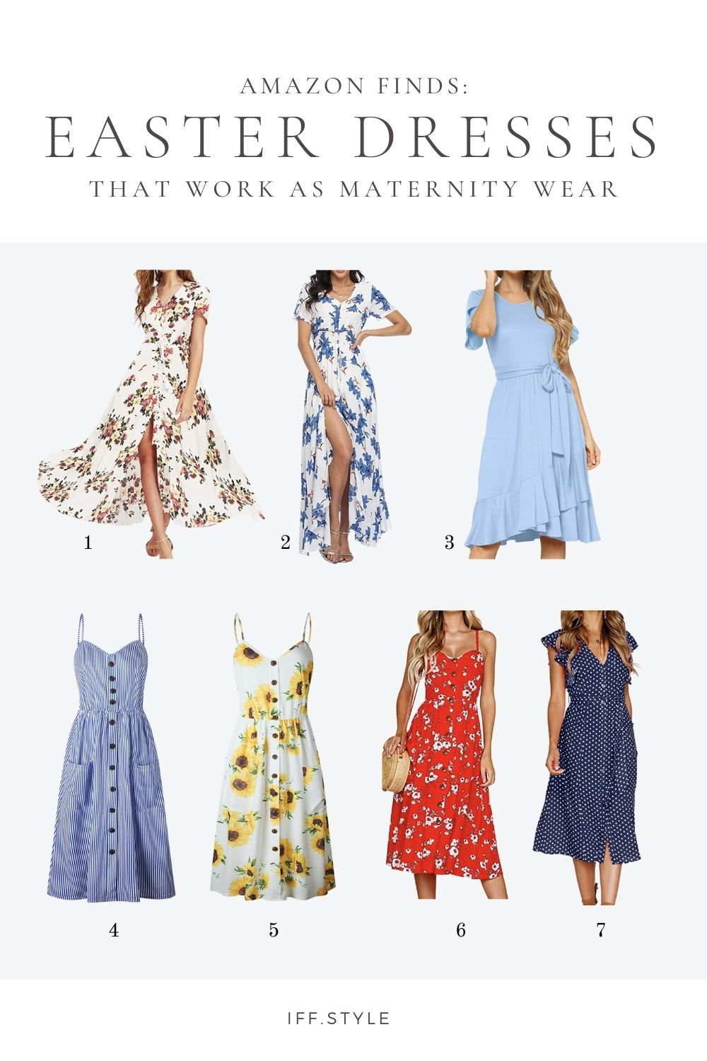 Pinterest Pin-7 Easter Dresses from Amazon for Pregnant Mamas maternity spring summer easter brunch wine tasting bridal shower baby shower wedding guest