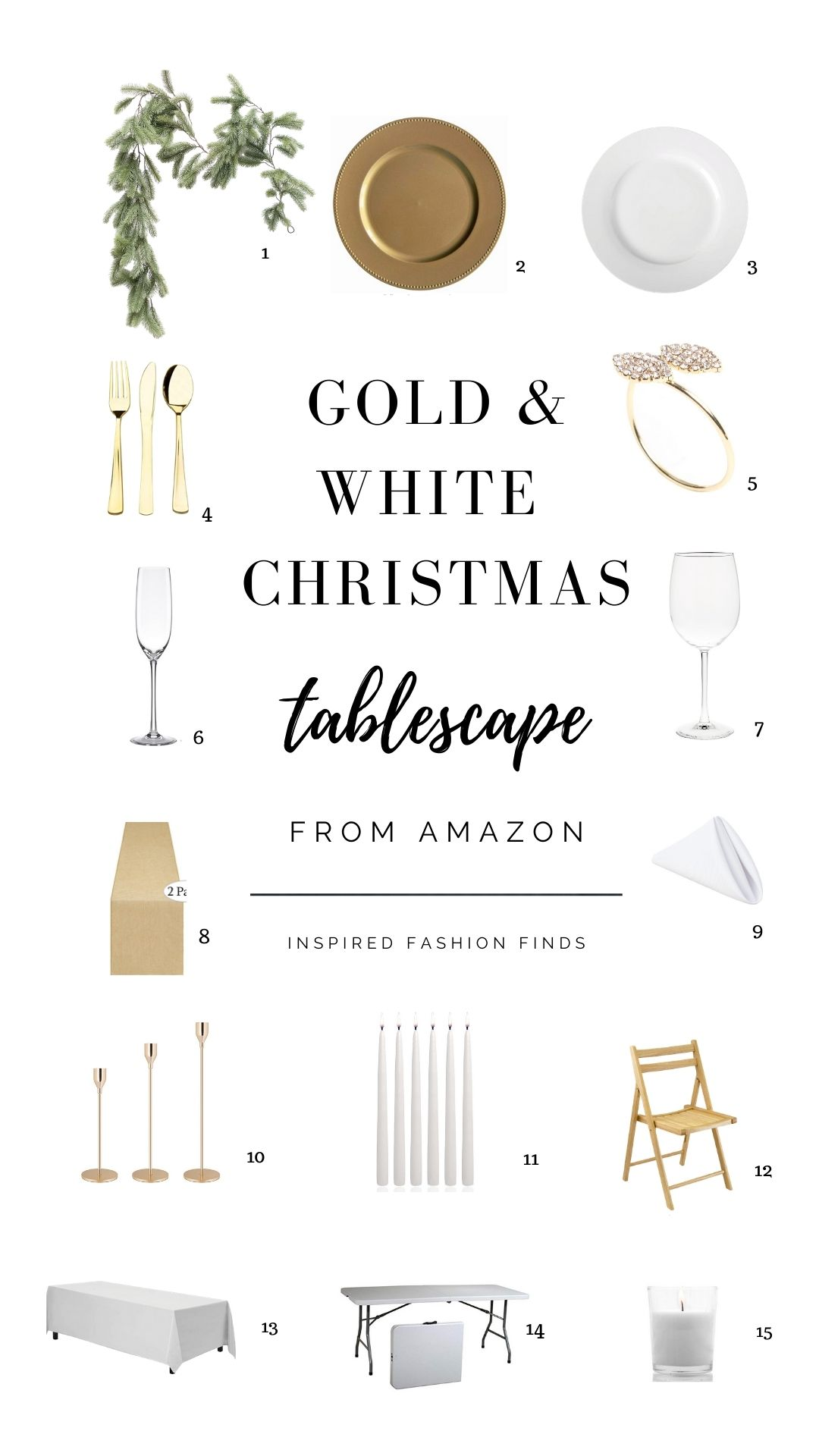 Pinterest Pins Collage Gold White and Green Christmas holiday tablescape table setting elegant
