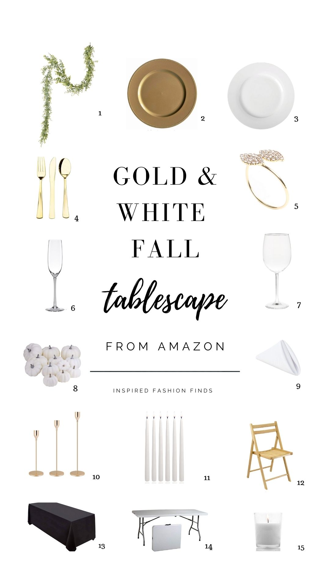 Pinterest Pin Gold and White Fall thanksgiving tablescape