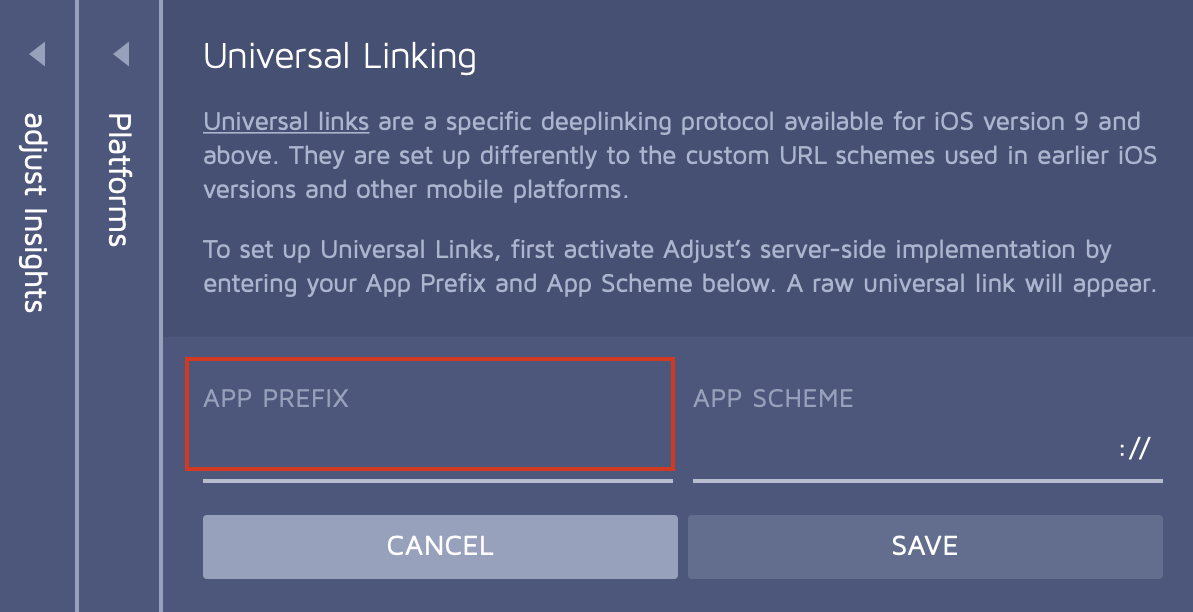 App Prefix field in the Universal Linking section