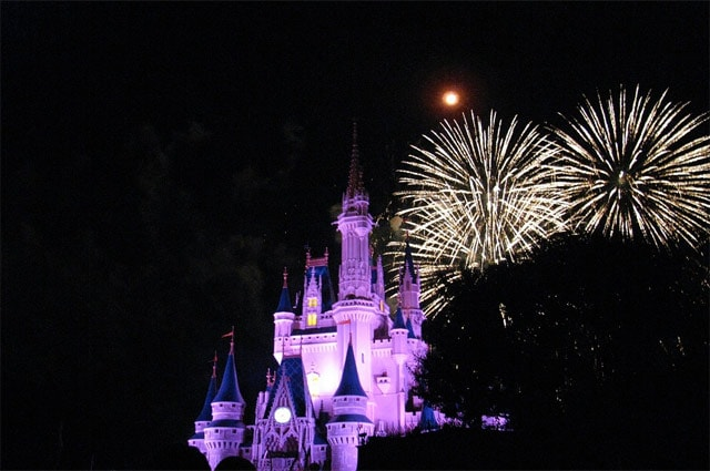 Magic Kingdom castle at night with fireworks