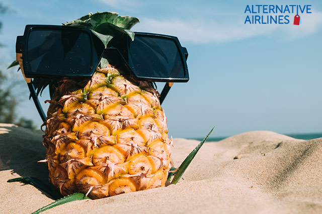 Pineapple on a beach