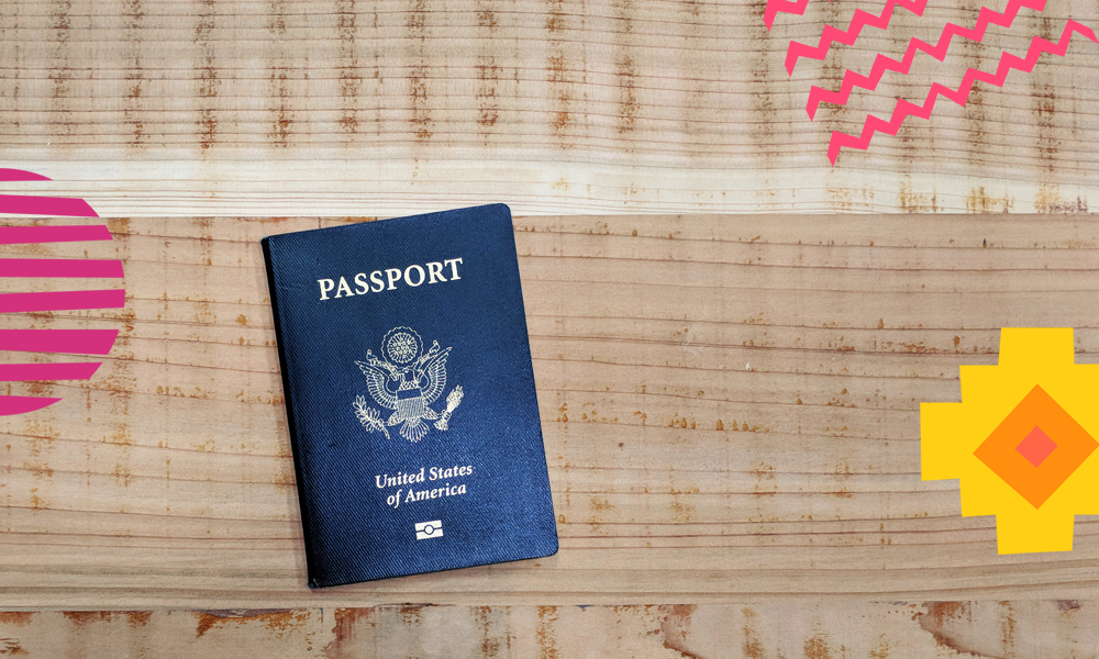 "an american passport on a wooden table ""A"