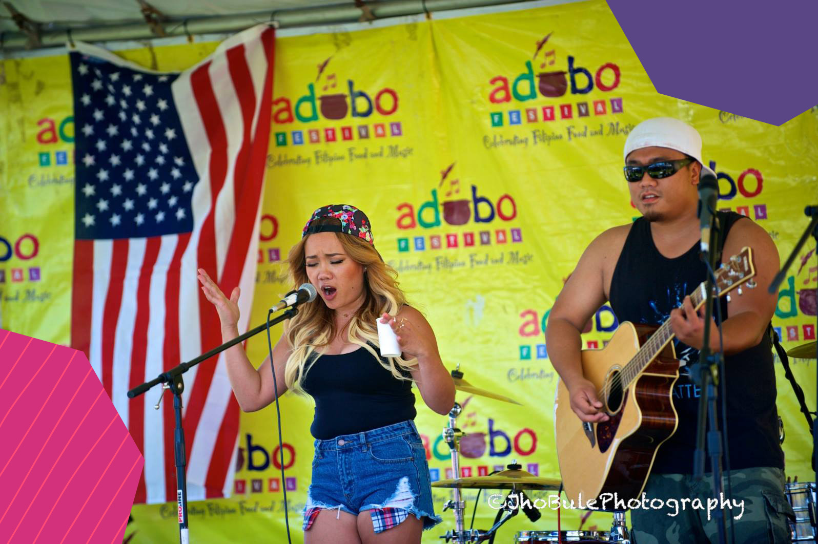 "A concert during Adobo Festival in USA featuring a lady performer and a cheering crowd of fans""A"