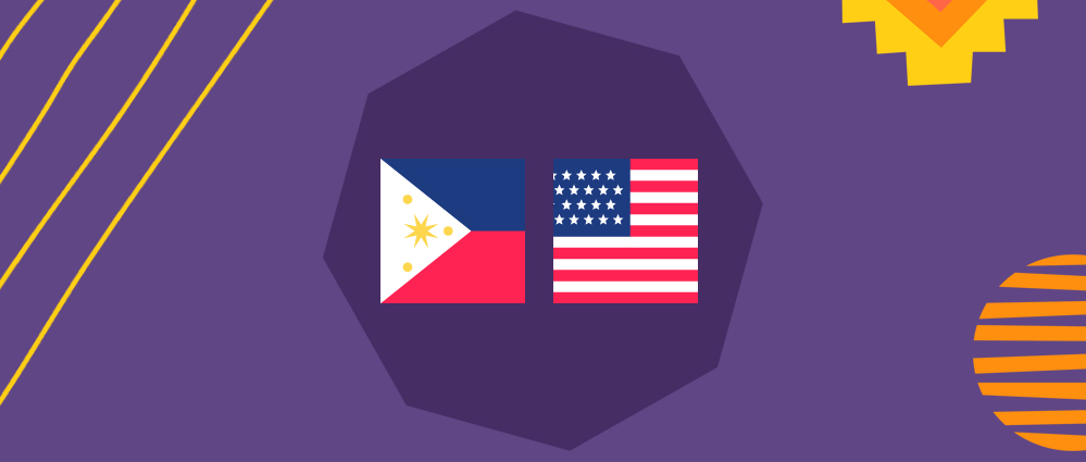us and filipino flags on a purple background