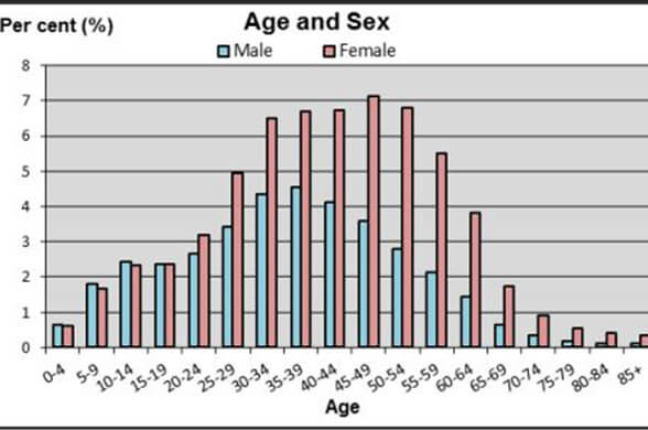 age and sex breakdown
