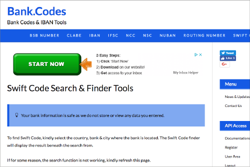 How to find swift code online