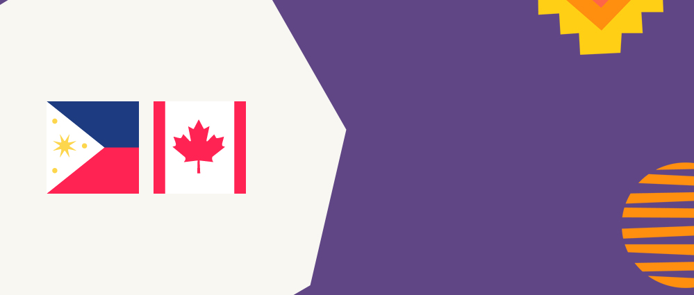 Filipino and Canadian flag on a purple and white background