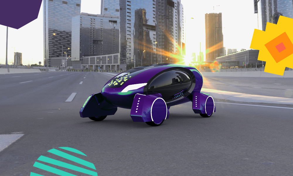 "a black-man invention kar-go in a purple colour in the middle of a urban street ""A"