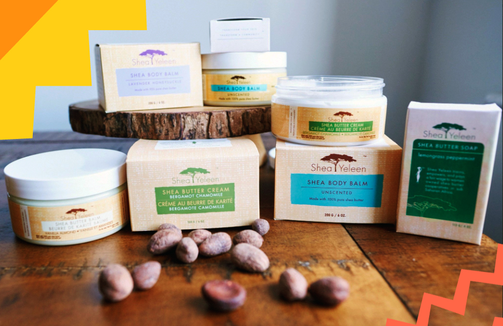 "shea yeleen products made of shea butter on a table""A"