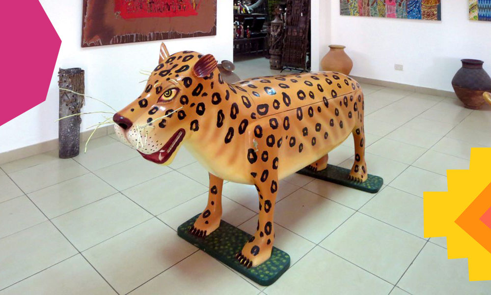 a tiger shaped fantasy coffin in Ghana