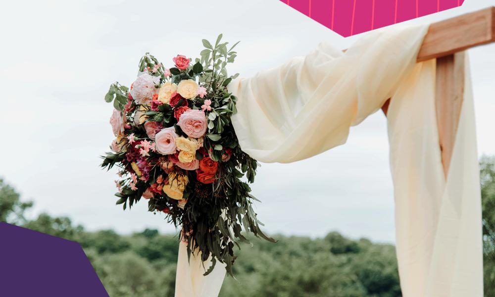 """wedding flower bouquet on a wedding altair""""A"""