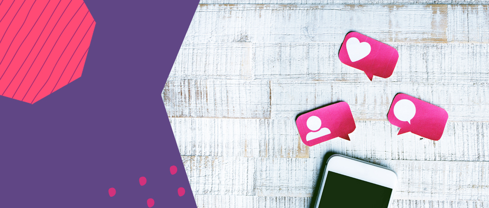 a phone laying on the table with pink post its above it signalling messages and potential online dating danger with worldremit purple background