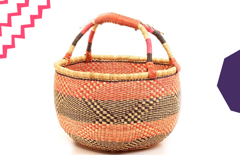 a traditional ghanaian bolga basket on a white background