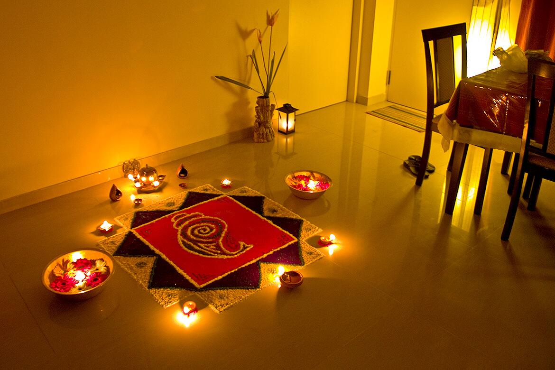 A Diwali rangoli created at home