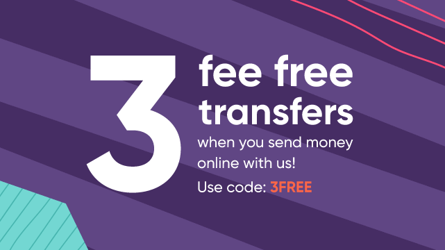 A graphical element showing the words 'No Fees on your first 3 money transfers, Promo code: 3FREE', surrounded by shapes, and a present icon