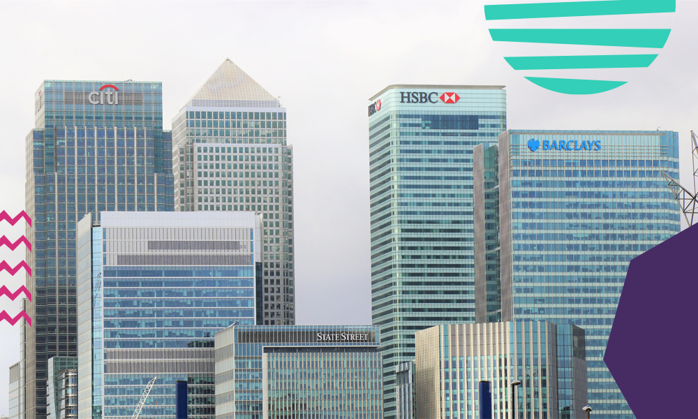 "an image of Canary Wharf skyscrapers including HSBC and Citi and Barclays""A"