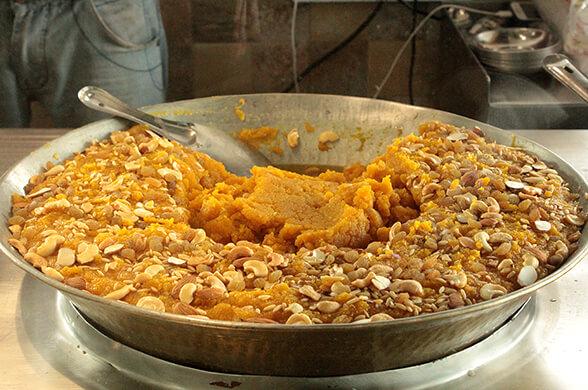 Dish of moong dal halwa