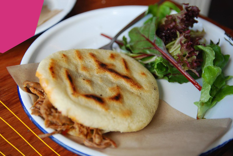 "colombian arepas on a white plate""A"