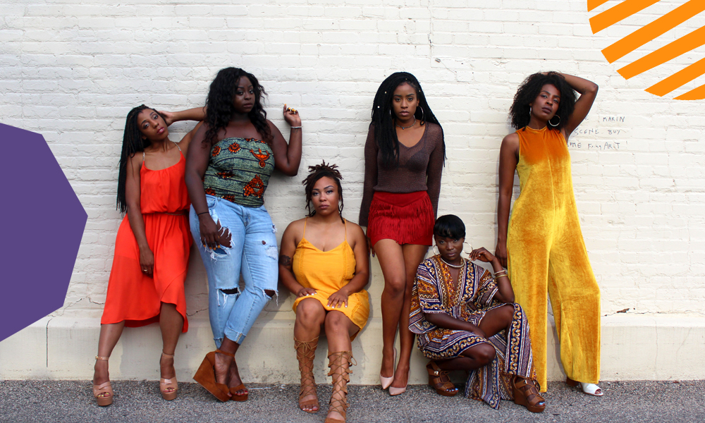 "six beautiful black girls with afro and natural hair dressed in colourful clothers""A"