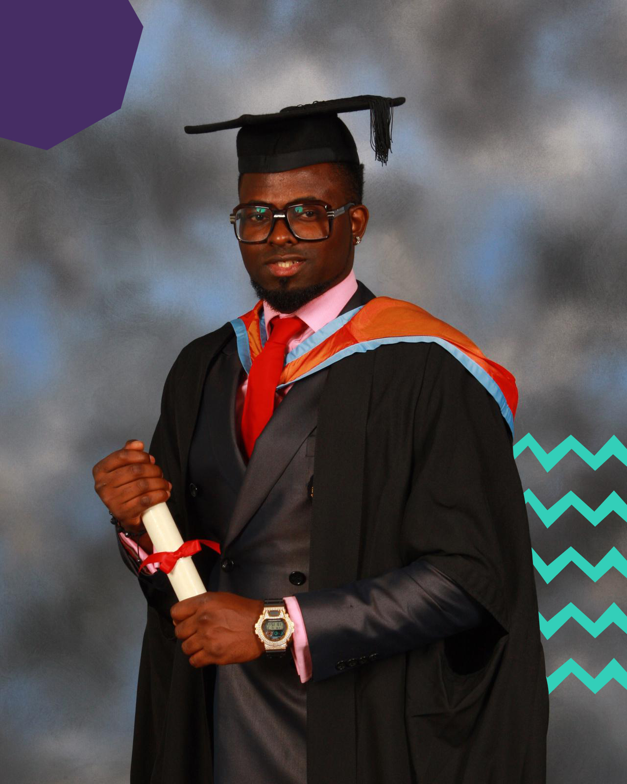"afrobeats promoter smade on a graduation photo in a graduation robe wearing glasses""A"