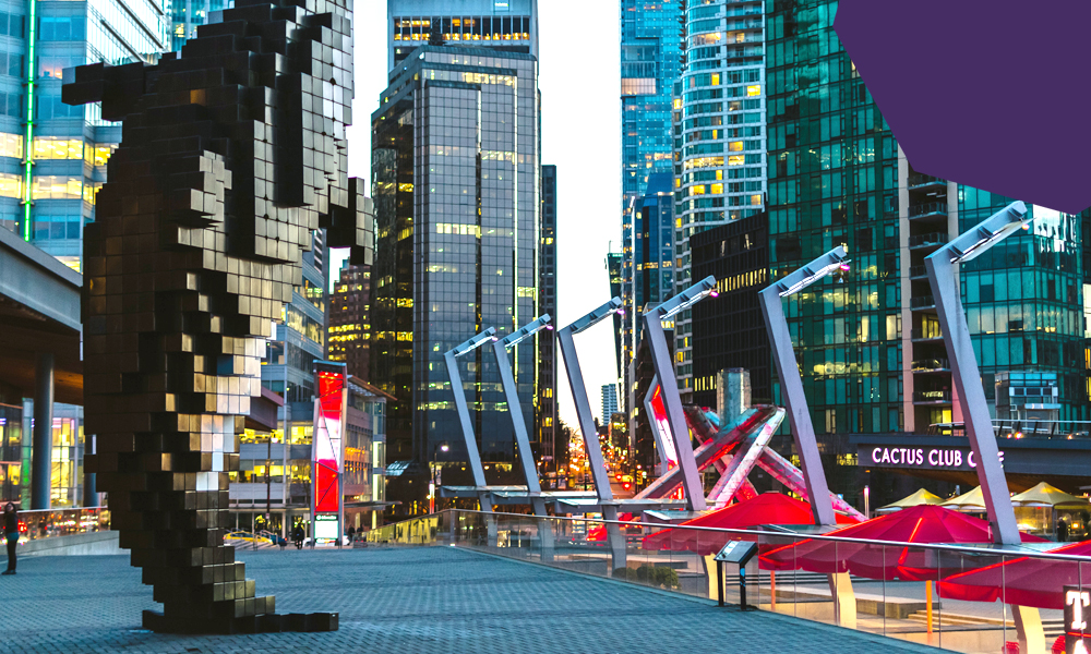 """a street in Vancouver with high rise buildings""""A"""