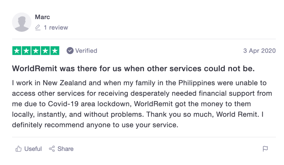 "worldremit trustpilot review ""A"
