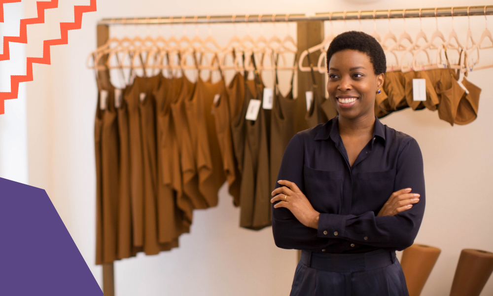 "entrepreneur ade hassan standing in her shop with nude clothes for all skin types""A"