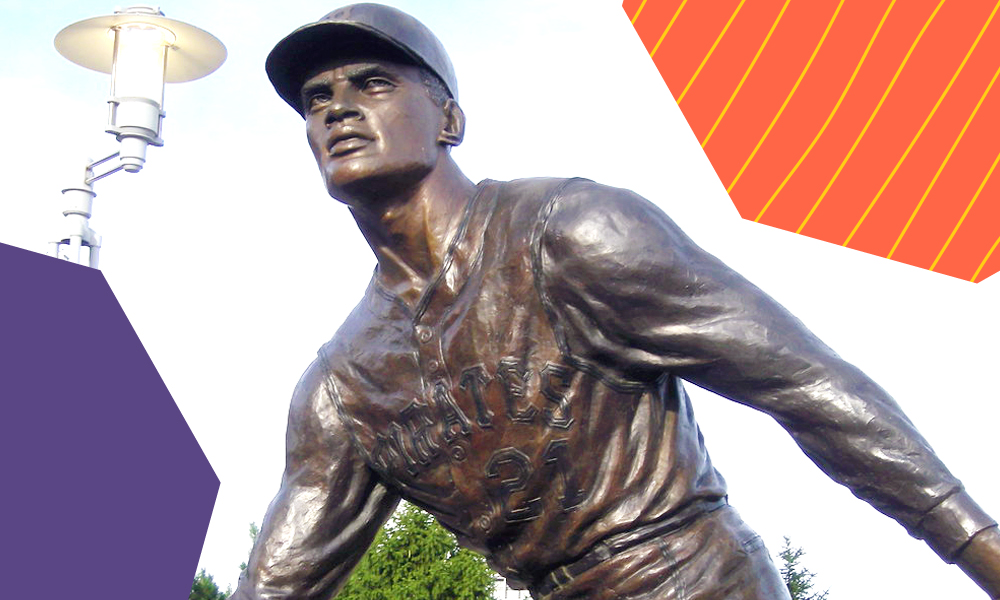 "a statue of a hispanic hero roberto clemente ""A"