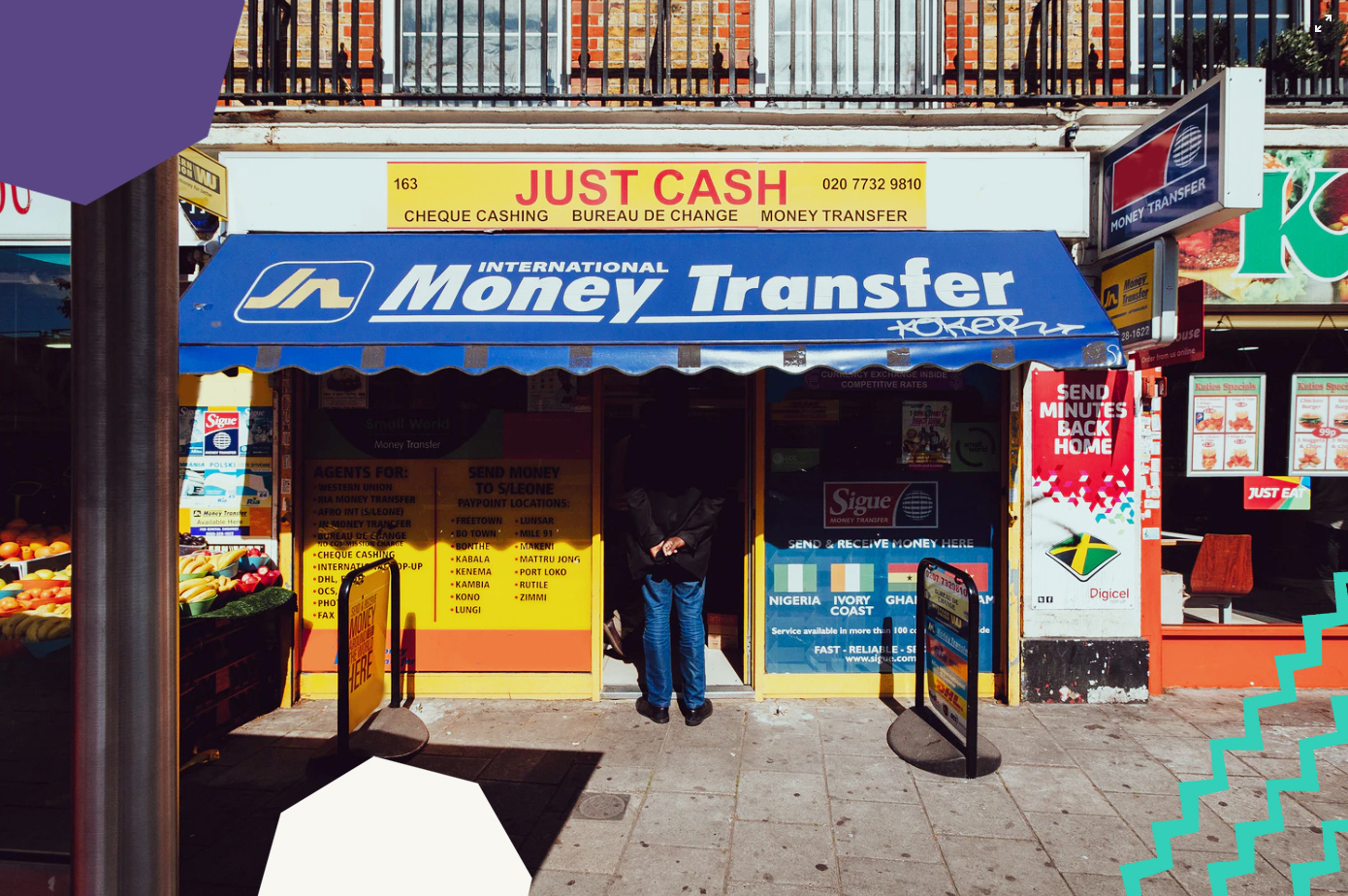 "a high street with a money transfer shop""A"