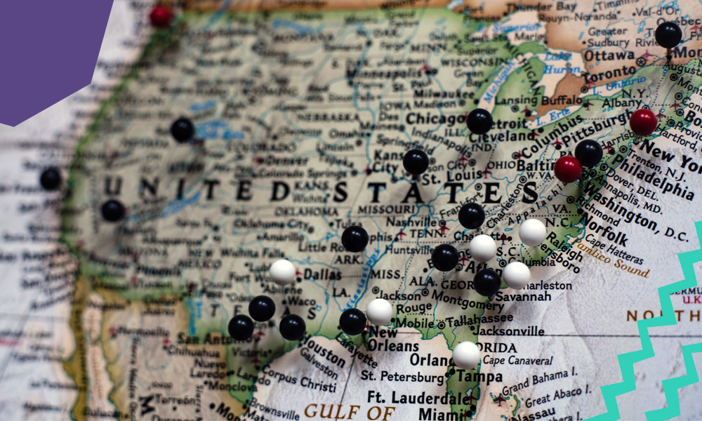 "a map of usa with pins on it ""A"