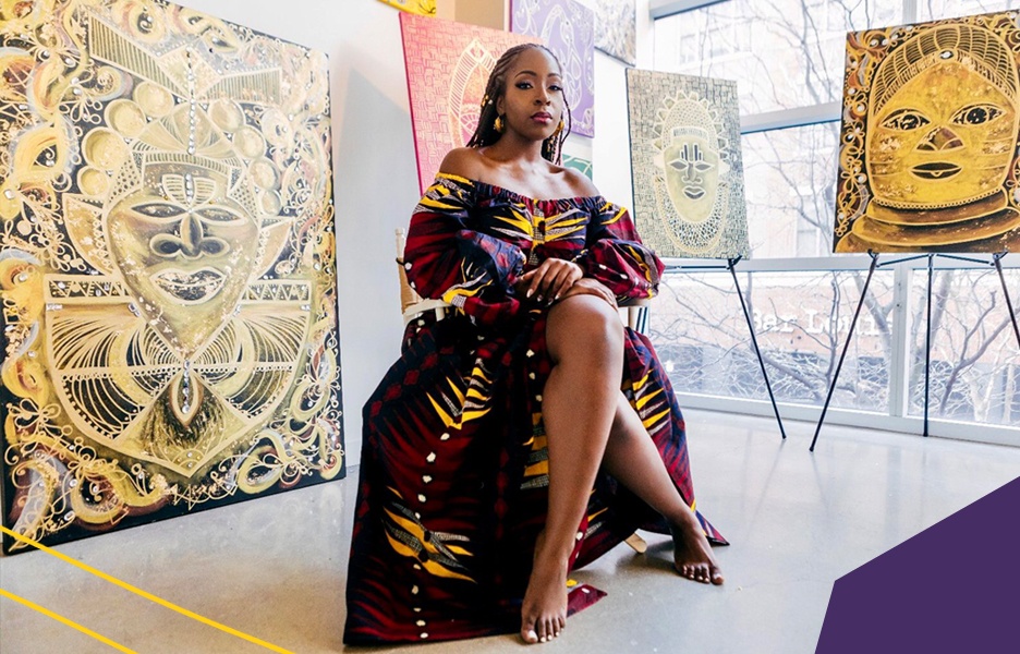 "artist miss dunnie o in a colourful statement dress in her atelier full of african inspired art""A"