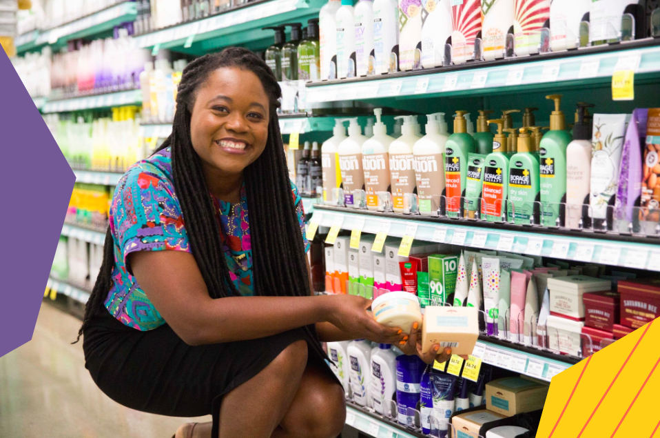 "rahama wright presenting shea yeleen products in a shop""A"