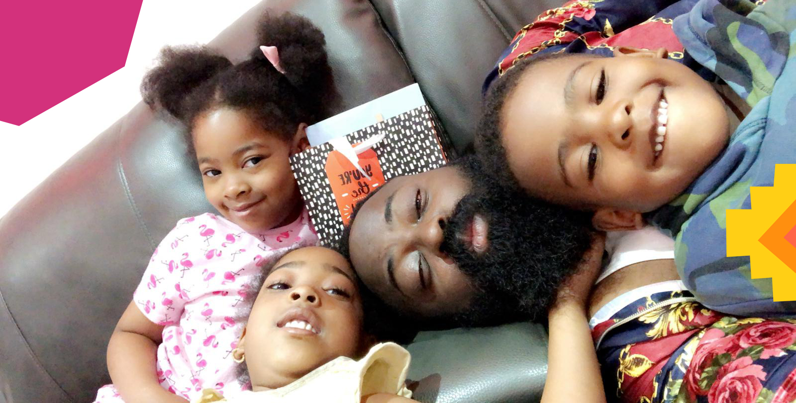 "afrobeats promoter smade laying on a sofa with his three kids""A"