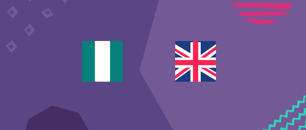Nigerian and a British flag on a purple background
