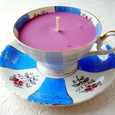 Home made teacup candle