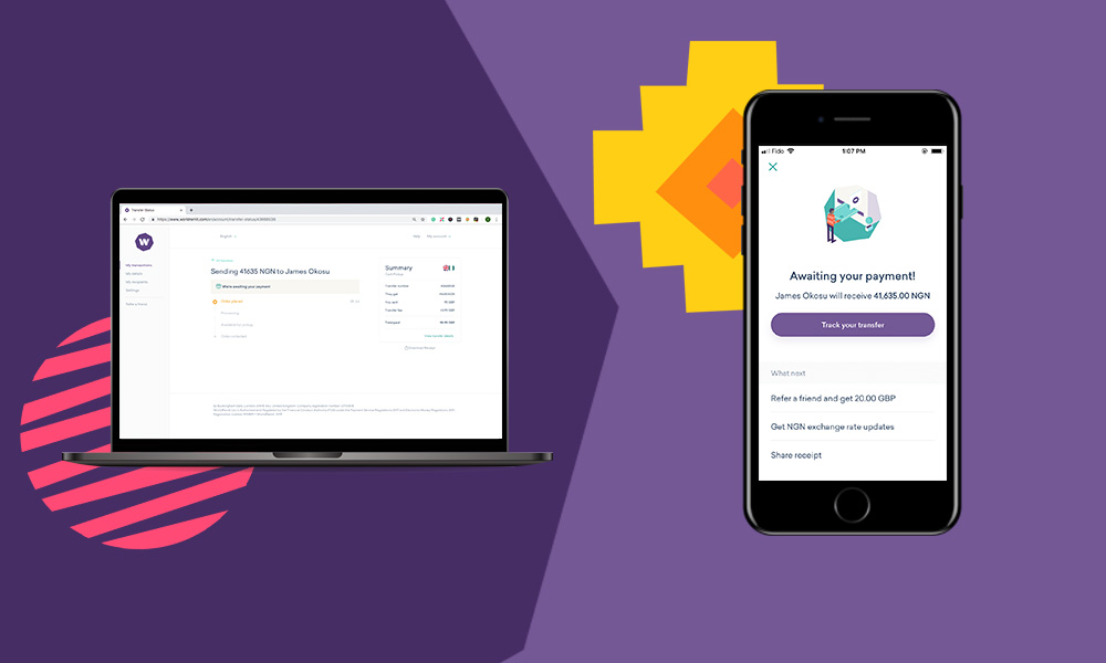 "worldremit app on a phone screen and worldremit website on a computer screen on a purple background""A"