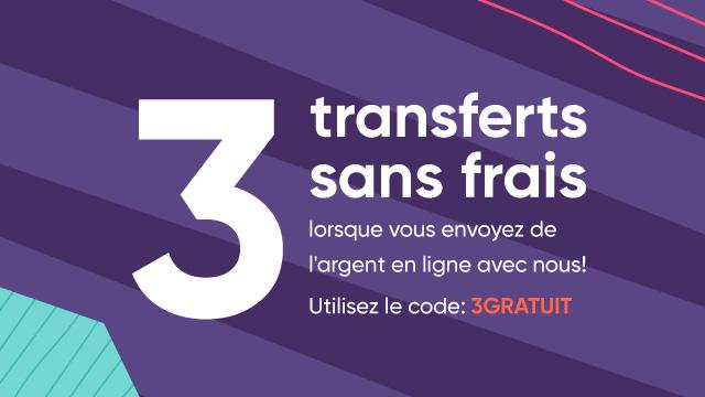 Un élément graphique avec la phrase «Pas de frais sur vos 3 premiers virements, code promo: 3GRATUIT», entouré de formes, et un pictogramme de cadeau.