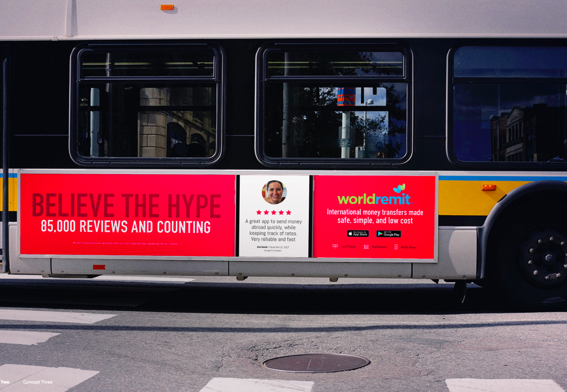 WorldRemit bus advertising in New York