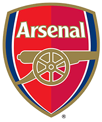 The Arsenal Football Club Crest - a red and blud coloured shield with a gold cannon in profile.