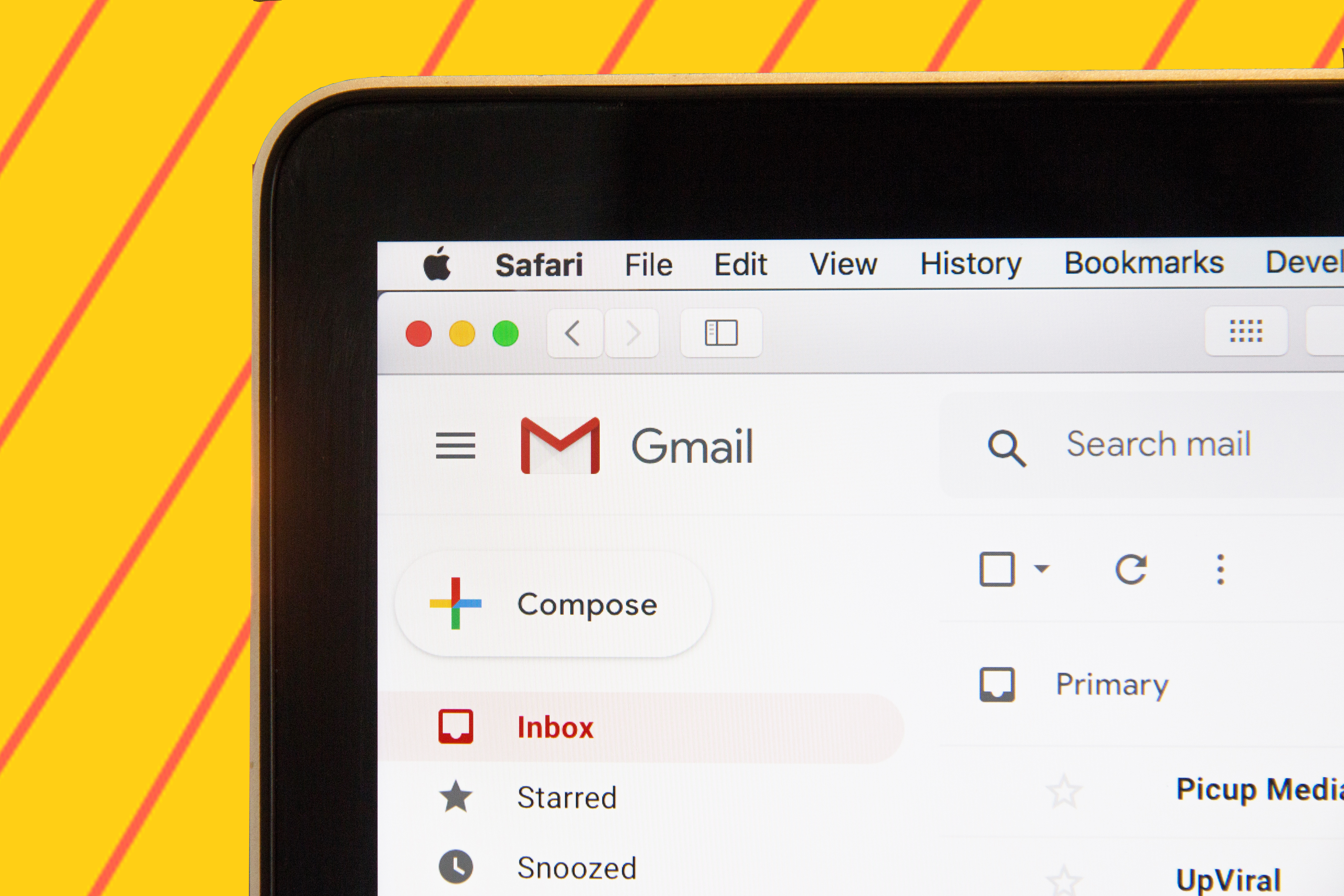 "computer screen with gmail""A"