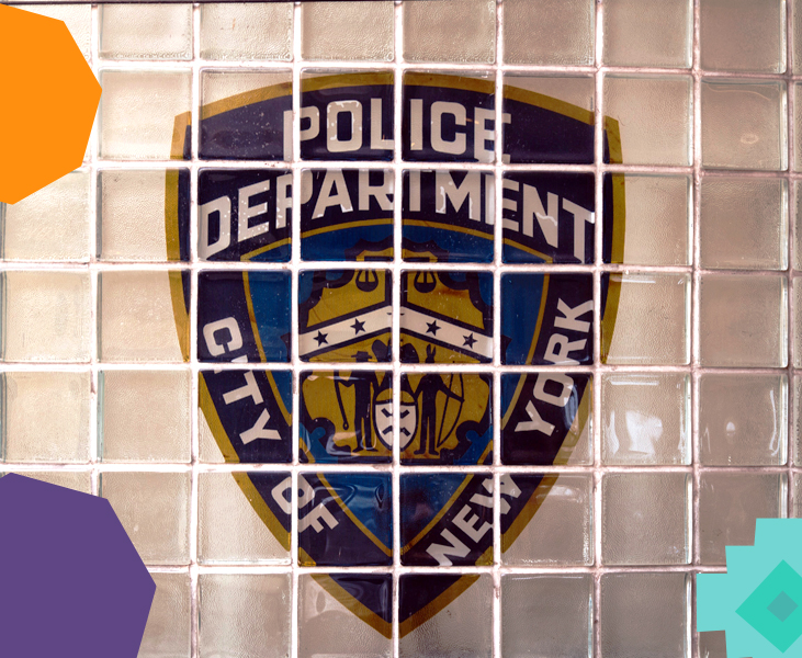 "a photo of a police cell with a sign police of new york on the wall""A"