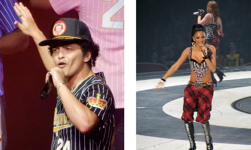 """Nicole Sherzinger and Bruno mars on a stage as famous filipinos in the usa""""A"""