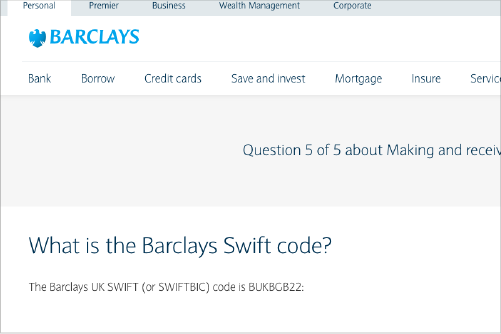 How to find swift code bank's website