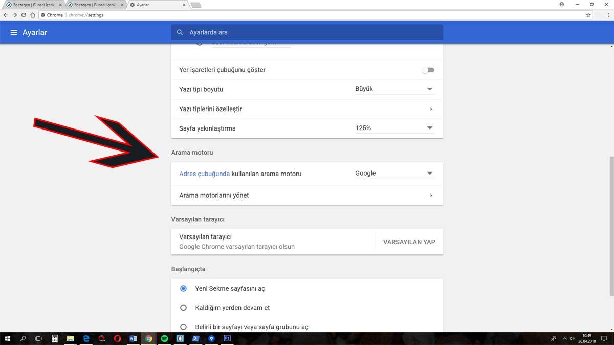 Google chrome arama motoru değiştirme