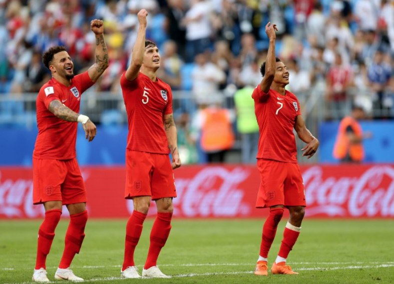 England players celebrate another victory in Russia. Pic: PA