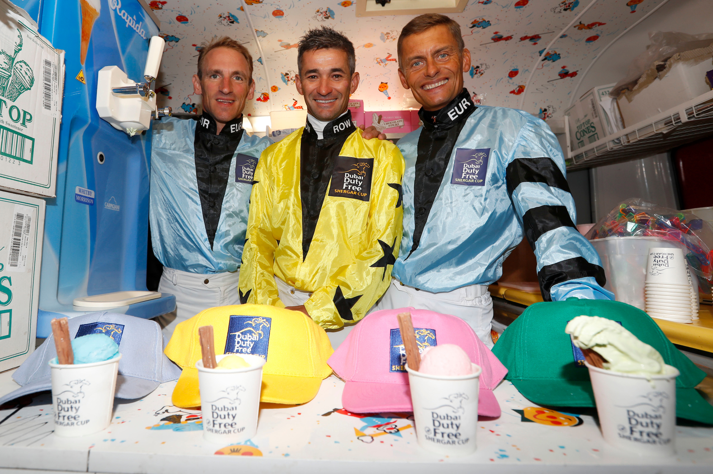 Andrasch Starke , Corey Brown and Per Anders-Graberg enjoying some ice cream in London before the Shergar Cup (Ascot)